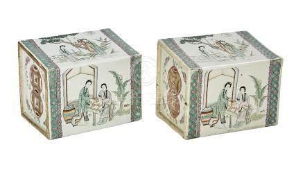 Pair of Chinese Famille Verte Porcelain Pillows
