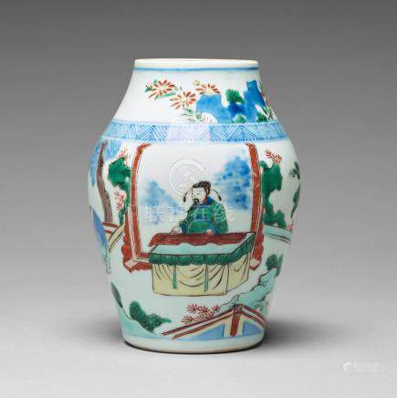 A Wucai Transitional jar, 17th Century.
