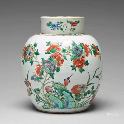 A famille verte jar with cover, Qing dynasty, 18th Century.