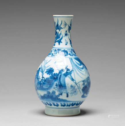 A blue and white pear shaped Transitional vase, 17th Century.