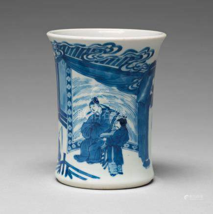 A blue and white Transitional brush pot, 17th Century with Chenghua mark.