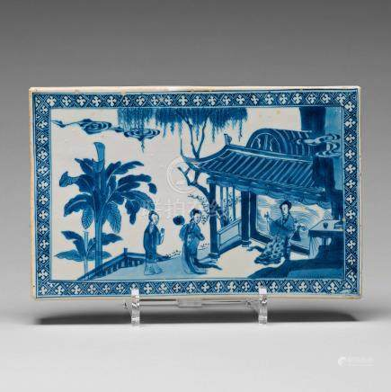A blue and white screen tile, Qing dynasty, Kangxi (1662-1722).