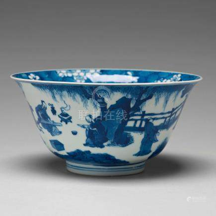A blue and white bowl, Qing dynasty, Kangxi (1662-1722).