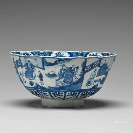 A blue and white bowl with immortals, Qing dynasty, Kangxi (1662-1722).