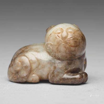 A nephrite figure of a cat, Ming dynasty (1368-1644).