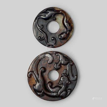 Two carved archaistic bi-discs, presumably Ming dynasty (1368-1644).