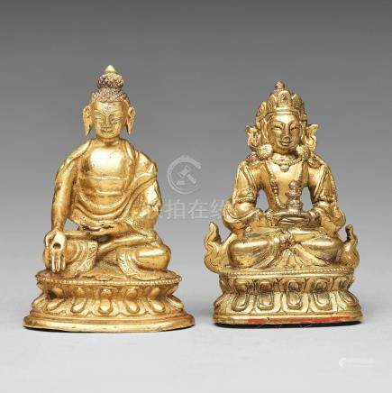 Two gilt copper alloy figures of deities, Tibeto-Chinese, 19th Century.
