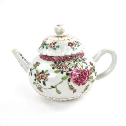 A Chinese famille rose porcelain teapot, 18th century, Qianlong period.