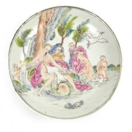 A rare Chinese export famille rose porcelain saucer with European mythological decoration,