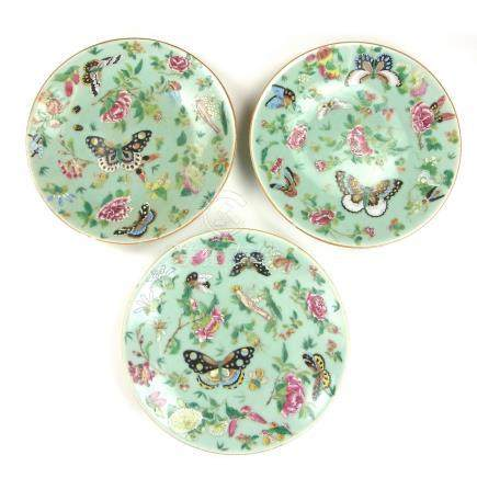 Three Chinese famille rose plates, 19th century.