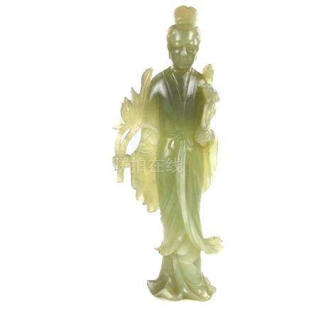 A large Chinese carved jade figure of Guanyin.