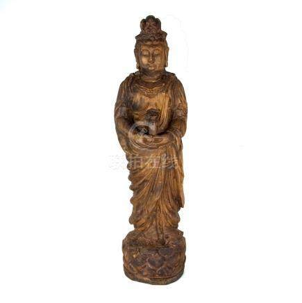 A large Chinese carved wood figure of Guanyin. 36.2 in (92 cm) height.