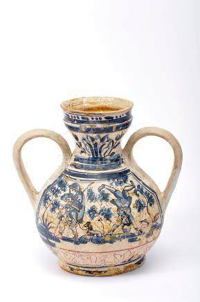 """A Vase with Two Handles, faiance, blue and vinous decoration """"Saltimbancos"""", Portuguese, 17th C. ("""