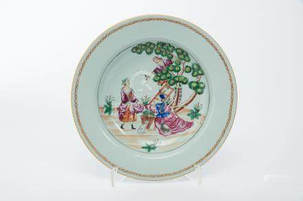 """A Soup Plate, Chinese export porcelain, polychrome and gilt """"Cherry picking"""" copied from an"""