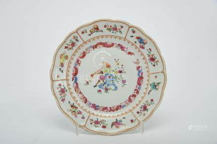 """A Scalloped Dish, Chinese export porcelain, polychrome decoration """"Oboe player"""" among flowers and"""