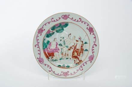 "A Dish, Chinese export porcelain, polychrome and gilt decoration ""Judgment of Paris"", Qianlong"