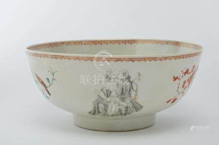 """A Bowl, Chinese export porcelain, polychrome and gilt decoration """"Flowers"""", grisaille and gilt theme"""