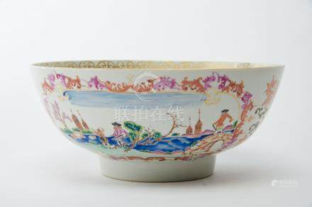 """A Bowl, Chinese export porcelain, polychrome and gilt decoration """"European sea port with figures"""","""