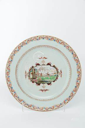 """A Large Dish, Chinese export porcelain, polychrome decoration """"Hunting scene"""", Qianlong period ("""