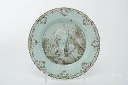 "A Dish, Chinese export porcelain, grisaille, vinous and gilt decoration ""Hercules rejects Pleasure"