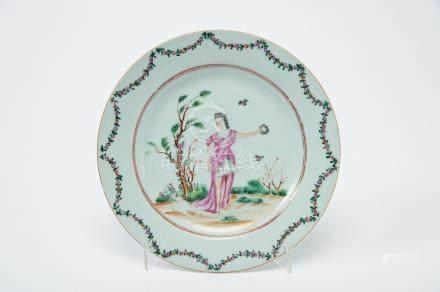 "A Dish, Chinese export porcelain, polychrome decoration ""Flora"", rim with ""Garlands"", Qianlong"