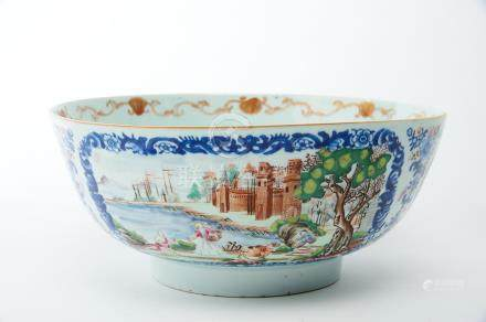 """A Bowl, Chinese export porcelain, polychrome decoration """"European sea port with figures"""", bordered"""