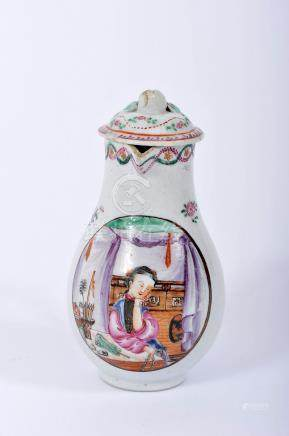 """A Milk Jug with Cover, Chinese export porcelain, polychrome and gilt decoration """"Insects and Flowers"""