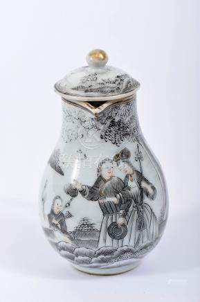 """A Milk Jug with Cover, Chinese export porcelain, gilt decoration en grisaille """"Pilgrims from the"""