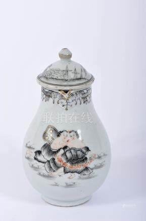 "A Covered Milk Jug, Chinese export porcelain, «rouge-de-fer» and gilt decoration en grisaille, """