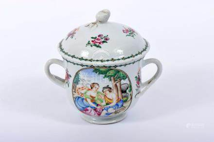"A Sugar Bowl, Chinese export porcelain, polychrome and gilt decoration ""Flowers"", polychrome"