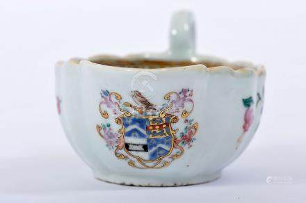 """A Sauce Boat, Chinese export porcelain, polychrome and gilt decoration """"Flowers"""" with European"""