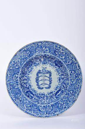 A Large Dish, Chinese export porcelain, blue decoration with the coat of arms of D. Rodrigo da Costa
