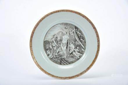 """A Dish, Chinese export porcelain, grisaille and gilt decoration """"Hercules rejects Pleasure and"""