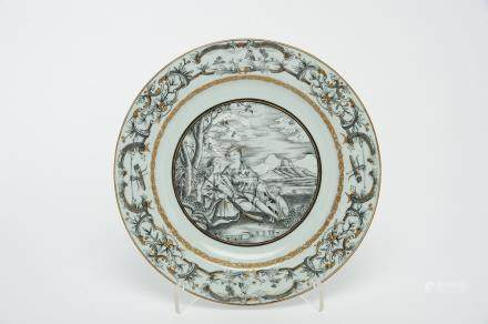 """A Dish, Chinese export porcelain, grisaille and gilt decoration """"Hunter, lady and hounds"""","""
