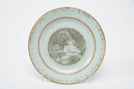 """A Dish, Chinese export porcelain, grisaille, gilt and red decoration """"Lady with lamb"""", Qianlong"""