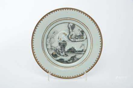 """A Dish, Chinese export porcelain, grisaille and gilt decoration """"Minerva protecting Telemachus,"""