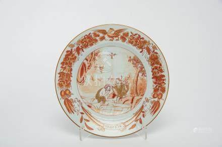 "A Dish, Chinese export porcelain, ""rouge-de-fer"" and gilt decoration ""The Baptism of Christ"", rim"