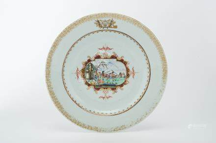 """A Large Dish, Chinese export porcelain, polychrome and gilt decoration """"Horse-hunting scene"""" the"""