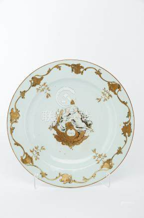 """A Large Dish, Chinese export porcelain, grisaille and gilt decoration """"Concord and Freedom"""" with"""