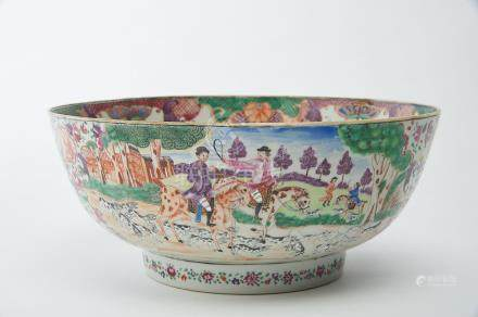 """A Large Bowl, chinese export porcelain, polychrome decoration """"Horse-hunting scene"""", Qianlong period"""