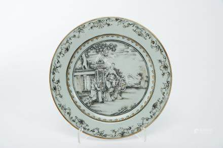 """A Dish, Chinese export porcelain, grisaille and gilt decoration """"Allegory to winter offering a"""