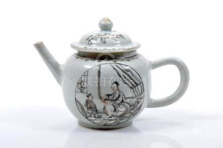 """A Teapot, Chinese export porcelain, gilt decoration en grisaille """"Female figure"""", Qianlong period ("""