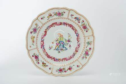 """A Large Scalloped Dish, Chinese export porcelain, polychrome na gilt decoration """"Oboe player,"""