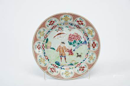 """A Dish, Chinese export porcelain, polychrome decoration """"European figures with parasol and hound"""","""