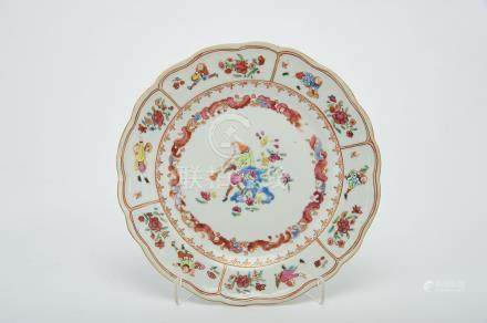 """A Dish, Chinese export porcelain, polychrome decoration """"Oboe player"""" among flowers and other"""
