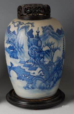 A 19th century Chinese export blue and white ginger jar, of baluster form, decorated with figure