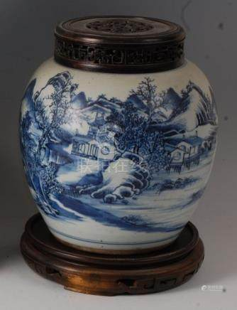 A mid-18th century Chinese export blue and white ginger jar, of squat baluster form, decorated