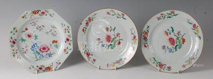 An 18th century Chinese famille rose octagonal plate, enamel decorated with flowering bamboo and