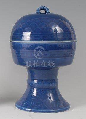 A Chinese 'dou' stem bowl and cover, Qing dynasty, the flat-bottomed bowl raised on a splayed