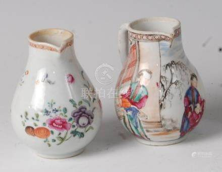 A late 18th century Chinese famille rose porcelain sparrowbeak cream jug, enamel decorated with